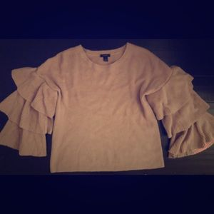 Pink halogen ruffle sweater size L Nordstrom
